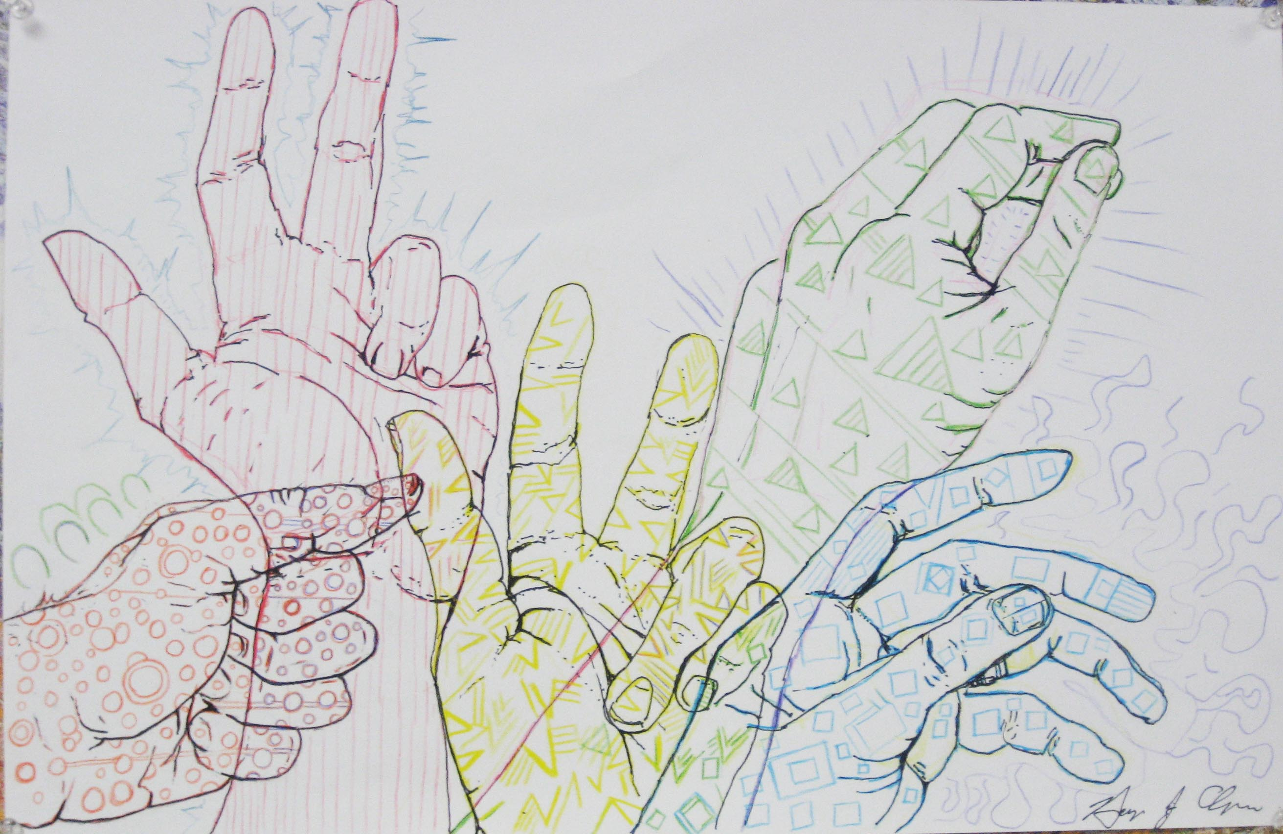 Line Drawings- Drawing your hands | Twenty-First Century Art and ...