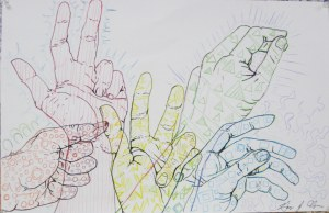 5 hands drawing