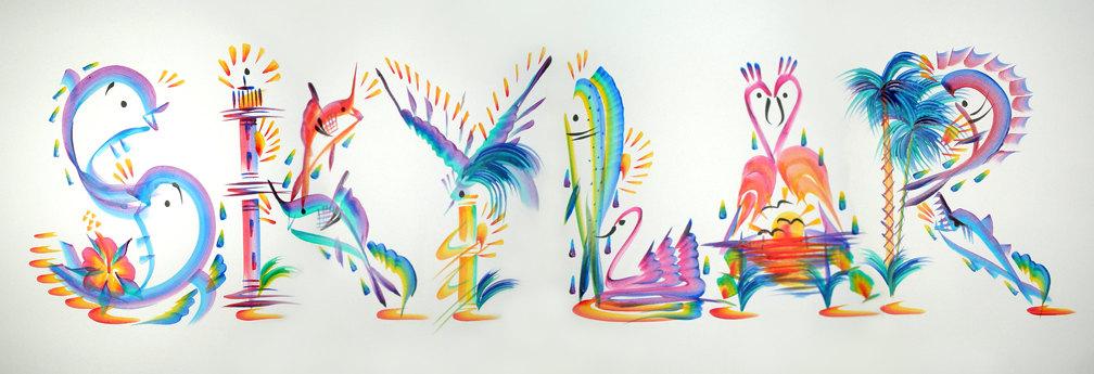 painting tropical hand painted skylar letter nametag narrative malerei paintings namen gemalt work tropischen kunst paint buchstaben using passions care