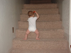 kid on stairs